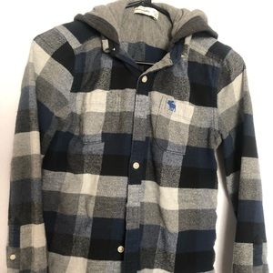 Abercrombie kid Boy flannel shirt hoodieSize 13/14